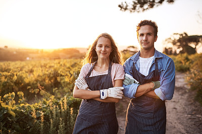 Buy stock photo Portrait of a confident young man and woman working together on a farm