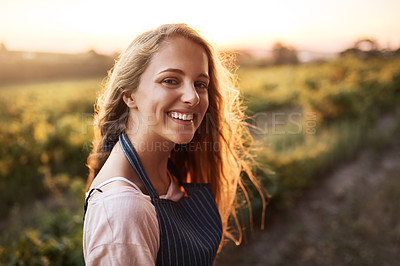 Buy stock photo Portrait of a happy young woman working on a farm
