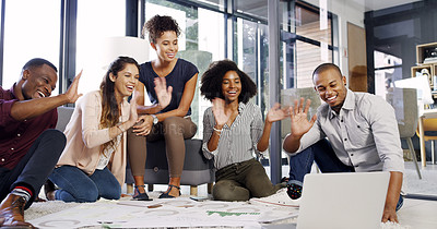 Buy stock photo Cropped shot of a group of diverse businesspeople on a video call in an modern office