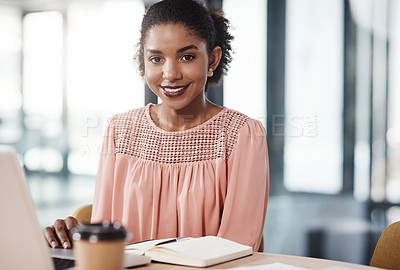 Buy stock photo Portrait of a young beautiful businesswoman working in her office