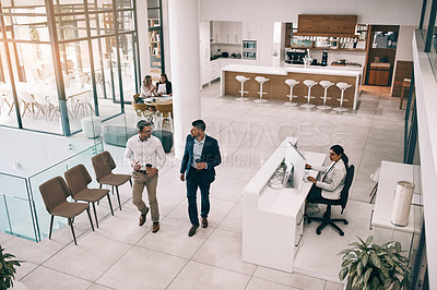 Buy stock photo High angle shot of businesspeople in an office