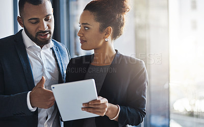 Buy stock photo Cropped shot of white collar businesspeople in a corporate office