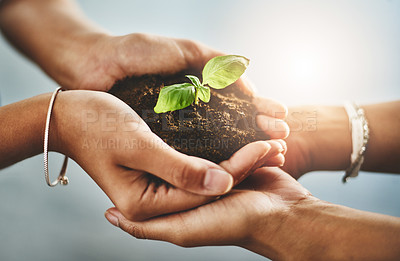 Buy stock photo Closeup shot of two unrecognizable businesspeople holding a plant growing out of soil