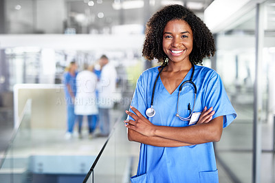 Buy stock photo Portrait of a confident young doctor working in a hospital with her colleagues in the background