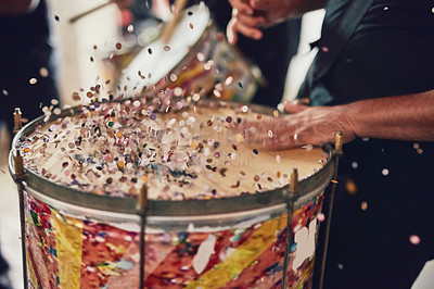 Buy stock photo Closeup shot of a musical performer playing drums with his band