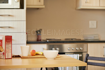 Buy stock photo Cropped shot of breakfast on a kitchen counter with no people at home