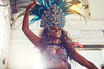 Buy stock photo Shot of a samba dancer performing in a carnival