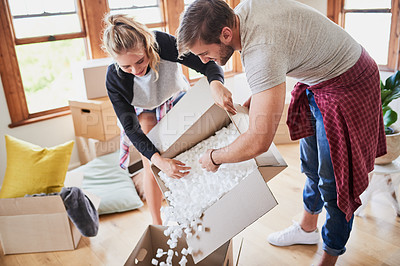 Buy stock photo Cropped shot of happy young couple on moving day
