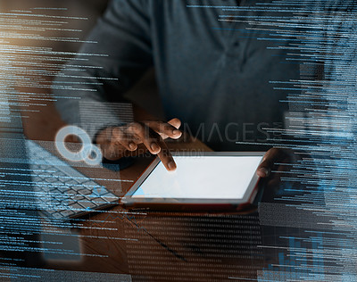 Buy stock photo Closeup shot of a programmer using a digital tablet while working on a source code at night