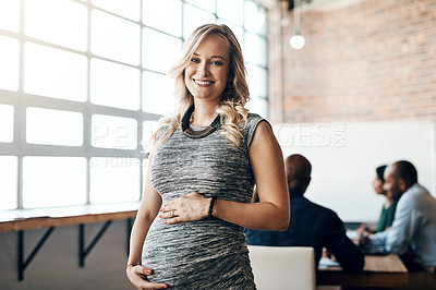 Buy stock photo Portrait of a pregnant businesswoman standing in the boardroom during a presentation
