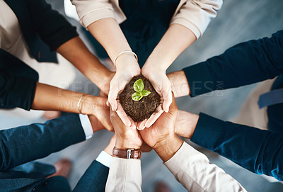 Buy stock photo High angle shot of a group of business colleagues holding a budding plant growing out of soil in their hands