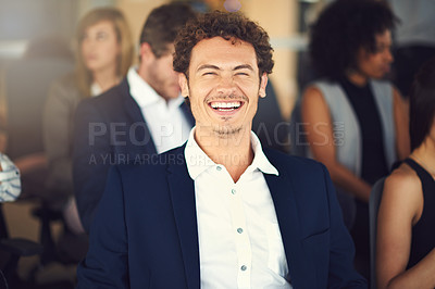 Buy stock photo Cropped shot of a handsome young businessman attending a seminar