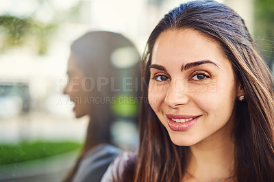 Buy stock photo Portrait of a beautiful young businesswoman outside