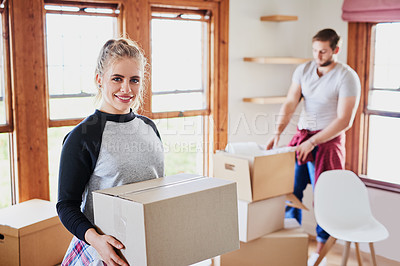 Buy stock photo Cropped shot of happy young couple on moving day in their new home