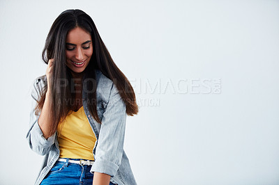 Buy stock photo Studio shot of a beautiful young woman