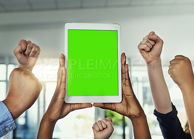 Buy stock photo Cropped shot of a group of businesspeople cheering and holding a digital tablet in a modern office