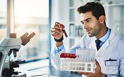 Buy stock photo Shot of a scientist analyzing medical samples in a lab