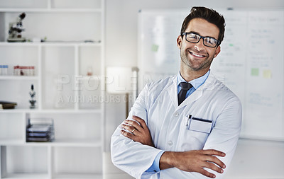 Buy stock photo Portrait of a scientist standing in a lab
