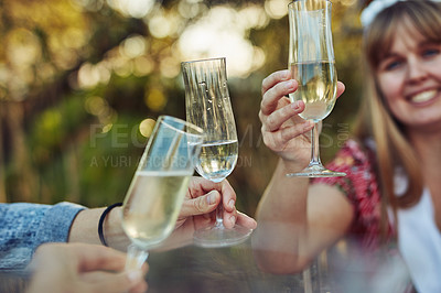 Buy stock photo Cropped shot of unrecognizable women toasting with champagne at a tea party outside