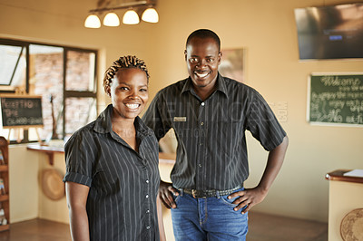 Buy stock photo Portrait of the front desk staff at a resort in nature