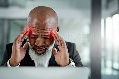 Buy stock photo Shot of a mature businessman suffering with a headache highlighted in glowing red while working in an office