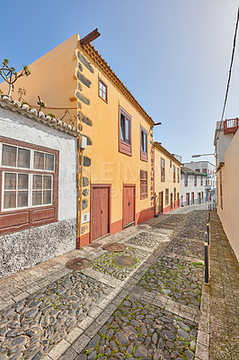 Buy stock photo Old colorful streets and houses of beautiful Santa Cruz, La Palma, Span