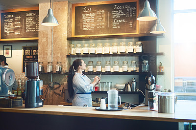 Buy stock photo Shot of a young woman checking the stock in her cafe