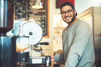 Buy stock photo Portrait of a young barista working in a cafe