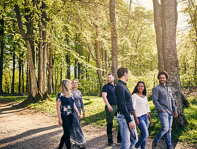Buy stock photo Cropped shot of a group of diverse colleagues team building at a company retreat
