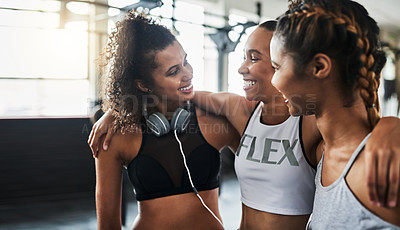Buy stock photo Shot of a group of happy young women enjoying their time together at the gym