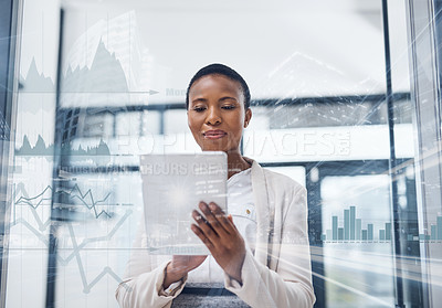 Buy stock photo Multiple exposure shot of a mature businesswoman using a digital tablet in a boardroom superimposed on a cityscape
