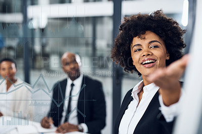 Buy stock photo Shot of a young businesswoman delivering a presentation to her colleagues in the boardroom with cgi graphs superimposed against them