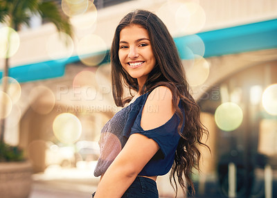 Buy stock photo Portrait of a happy teenage girl in the city