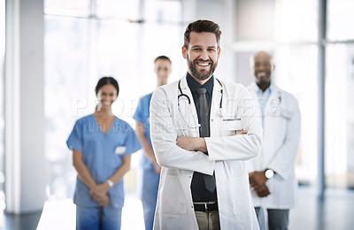 Buy stock photo Portrait of a confident doctor working at a hospital