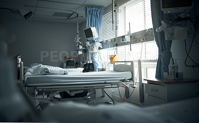 Buy stock photo Cropped shot of an empty recovery room in a hospital