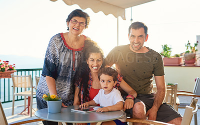 Buy stock photo Cropped portrait of an affectionate family of four outside