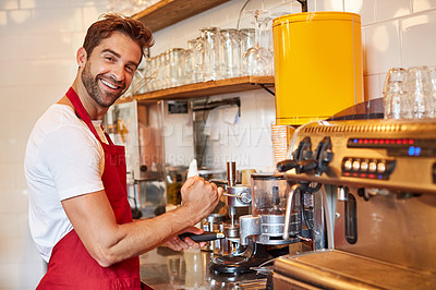 Buy stock photo Portrait of a male barista on duty in a coffee shop