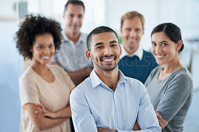 Buy stock photo Portrait of a group of diverse colleagues standing in an office