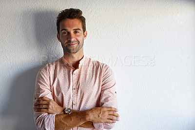Buy stock photo Cropped shot of a confident young businessman