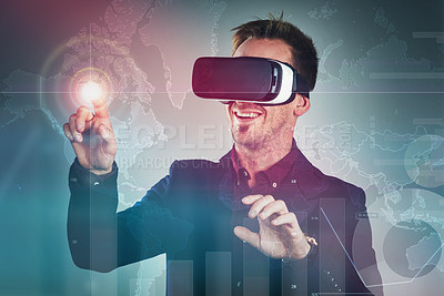 Buy stock photo Studio shot of a handsome young businessman using a vr headset against a digitally imposed background