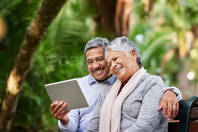 Buy stock photo Shot of a mature couple using a digital tablet together at the park