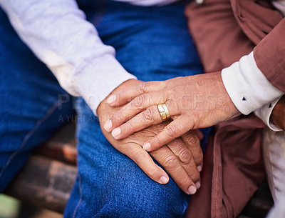 Buy stock photo Closeup shot of an unrecognizable couple holding hands