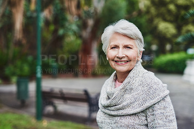 Buy stock photo Portrait of a happy senior man enjoying a day in the park