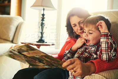 Buy stock photo Cropped shot of a grandmother reading a book to her adorable little grandson on the couch in the living room at home