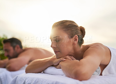 Buy stock photo Shot of a couple spending the day at a spa