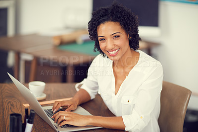 Buy stock photo Portrait of a young businesswoman working at the office
