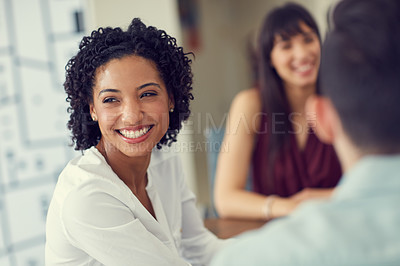Buy stock photo Cropped shot of businesspeople working at the office
