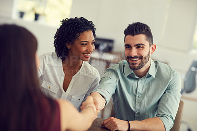 Buy stock photo Cropped shot of an unrecognizable female therapist meeting a couple for a counselling session