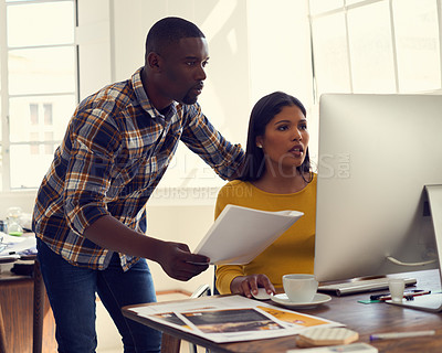 Buy stock photo Shot of young designers in their workplace