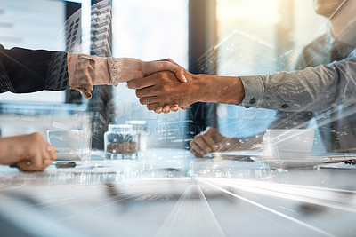 Buy stock photo Closeup shot of two businesspeople shaking hands in an office superimposed over a cityscape